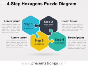 Free 4-Step Hexagons Puzzle Diagram