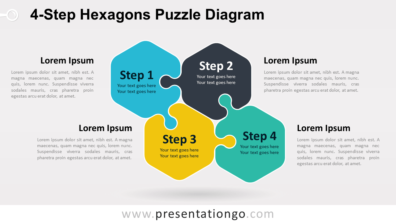 Free 4-Step Hexagons Puzzle Diagram for PowerPoint and Google Slides