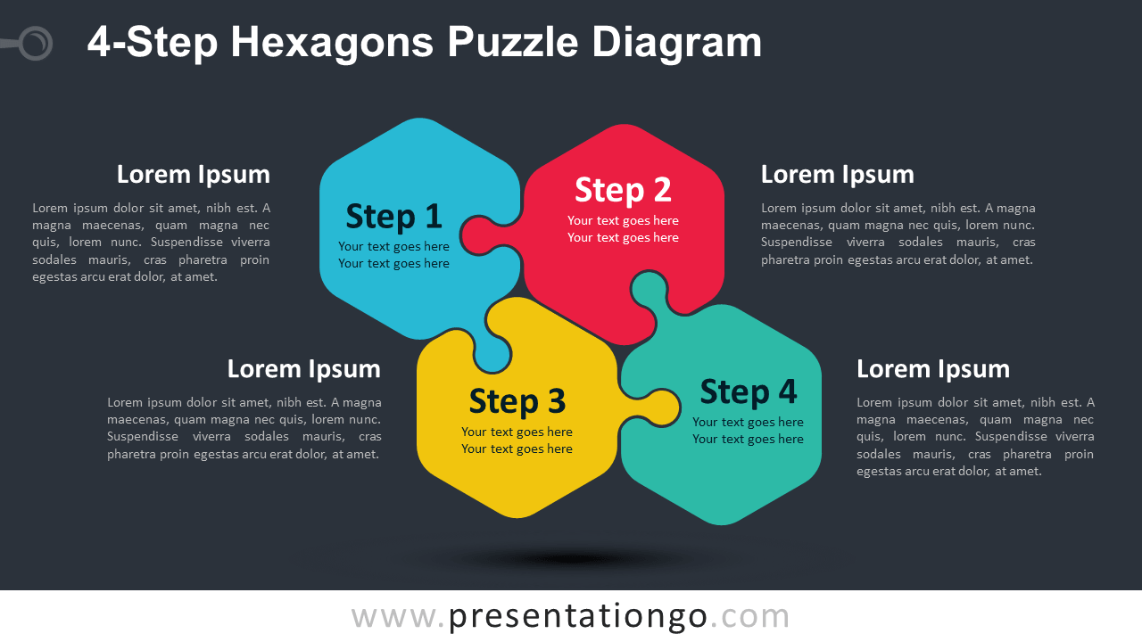 Free 4-Step Hexagons Puzzle Diagram for PowerPoint