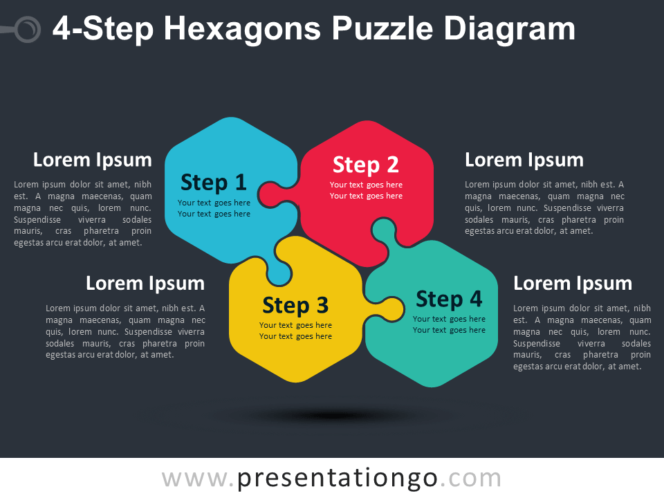 Free 4-Step Hexagons Puzzle Diagram Slide Template