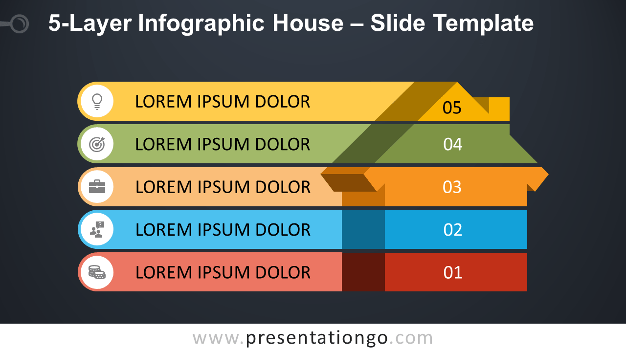 Free 5-Layer Infographic House for PowerPoint