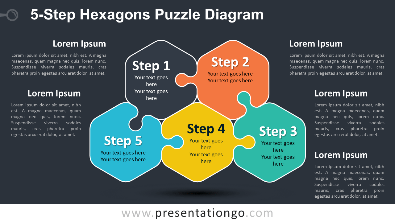 Free 5-Step Hexagons Puzzle Diagram for PowerPoint