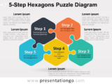 Free 5-Step Hexagons Puzzle Diagram Slide Template