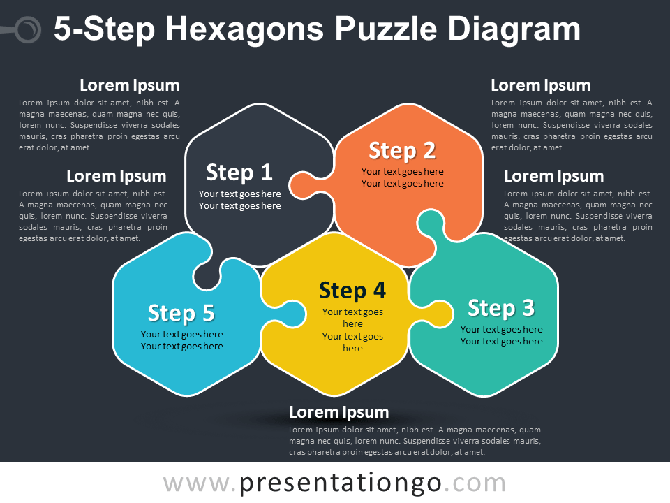 Free 5-Step Hexagons Puzzle Diagram Template
