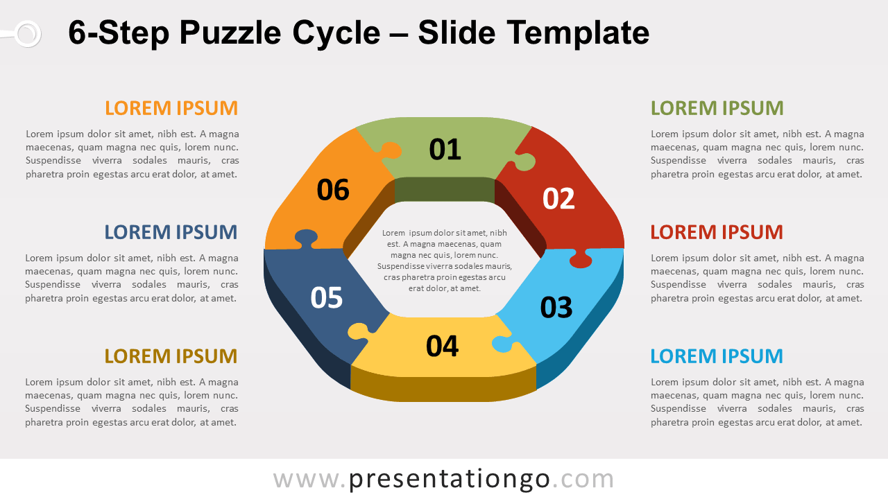 Free 6-Step Puzzle Cycle for PowerPoint and Google Slides