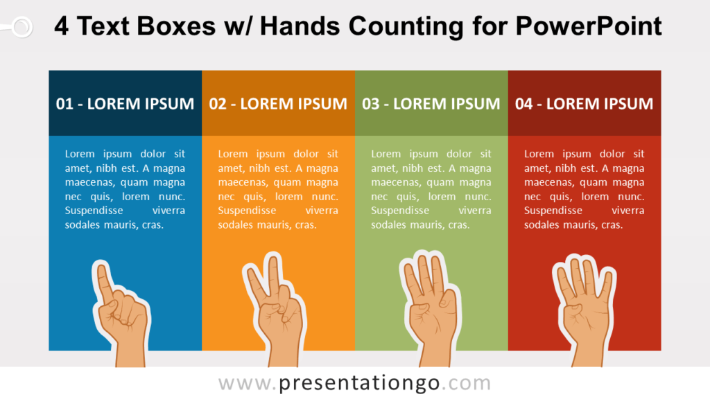 4 Text Boxes with Hands Counting PowerPoint Slide