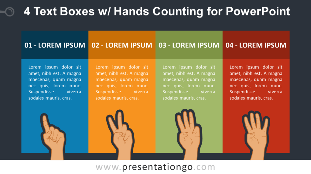 4 Text Boxes with Hands Counting PowerPoint Slide Template