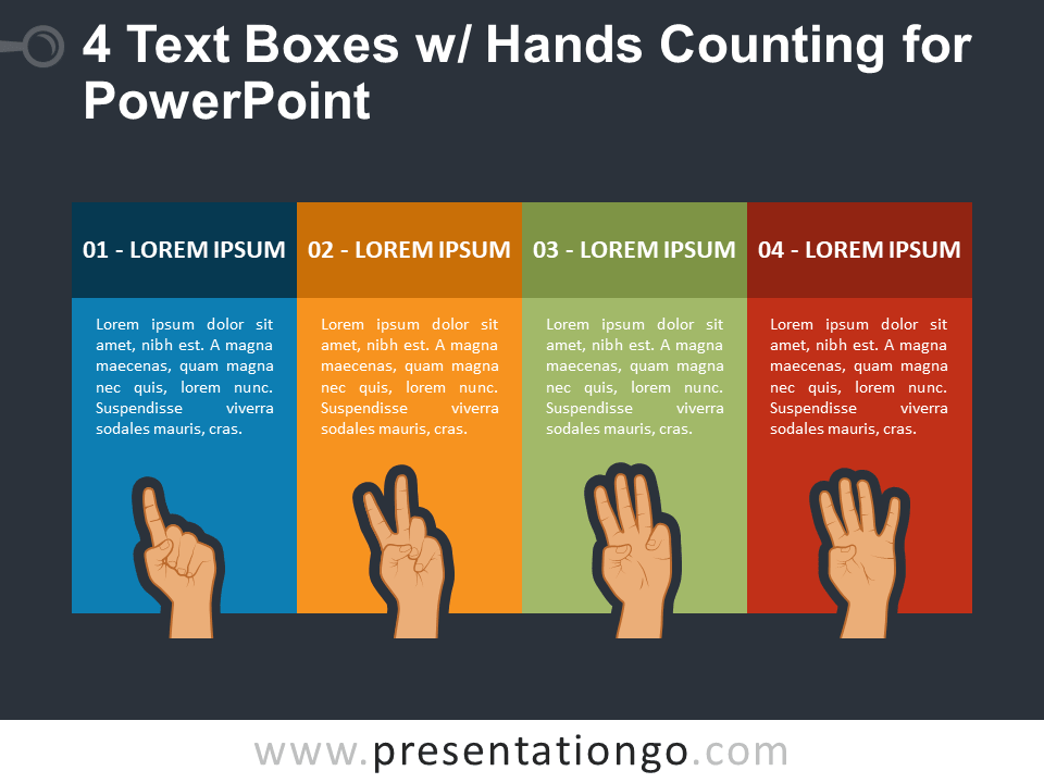 Free 4 Text Boxes with Hands Counting PowerPoint Template