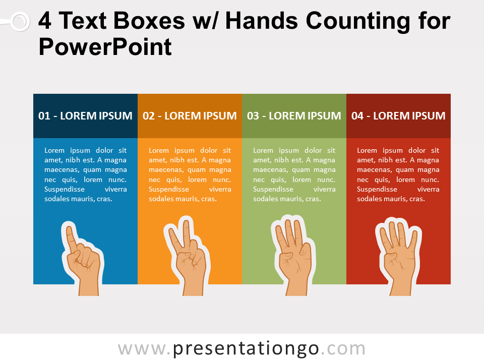 Free 4 Text Boxes with Hands Counting for PowerPoint