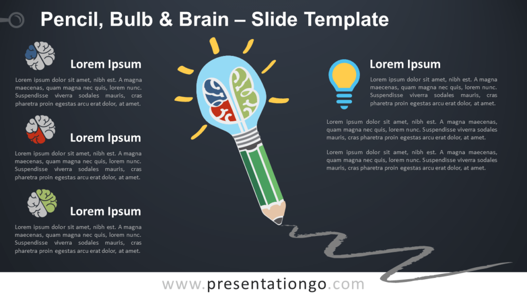 Free Pencil, Bulb and Brain for PowerPoint