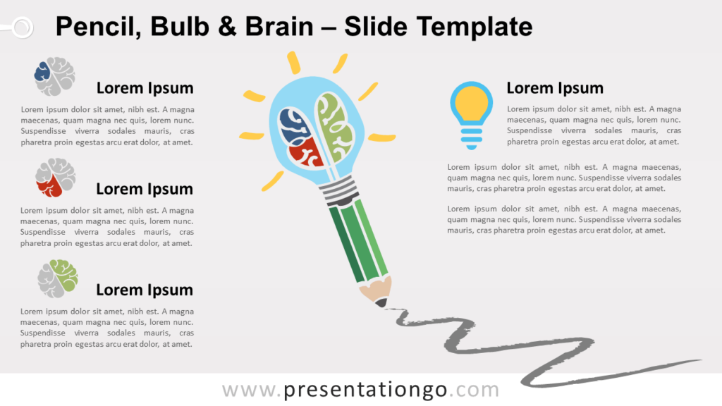 Free Pencil, Bulb and Brain for PowerPoint and Google Slides