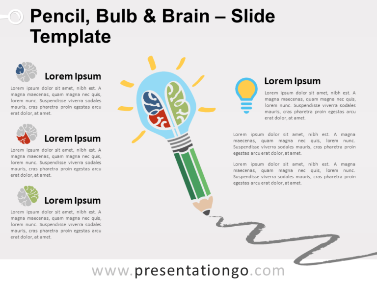 Free Pencil, Bulb and Brain Slide Template