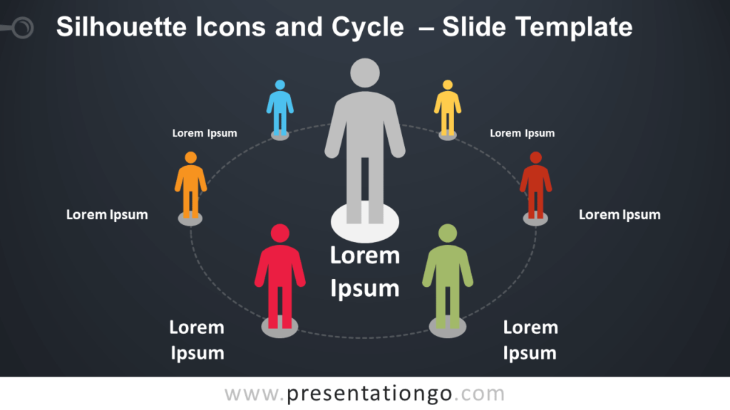 Free Silhouette Icons and Cycle for PowerPoint