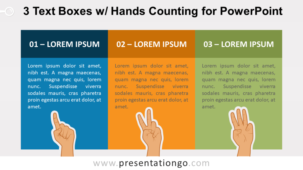 3 Text Boxes with Hands Counting PowerPoint Slide