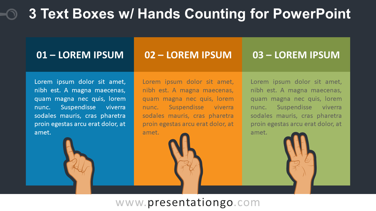 3 Text Boxes with Hands Counting PowerPoint Slide Template