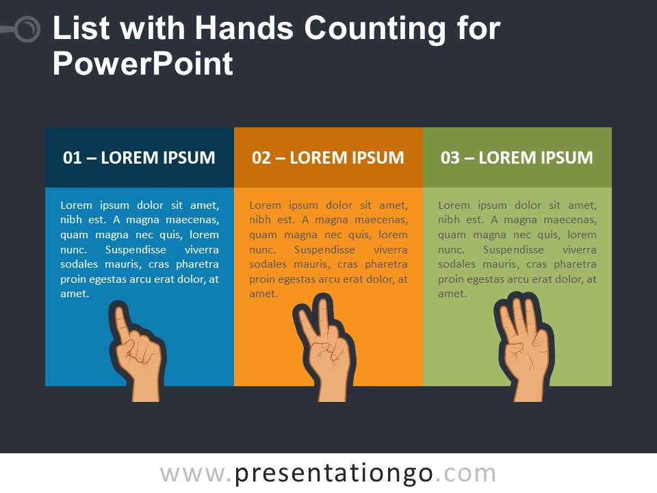Free 3 Text Boxes with Hands Counting PowerPoint Template
