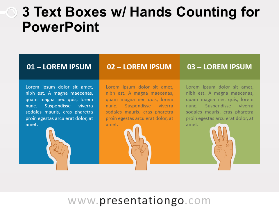 Free 3 Text Boxes with Hands Counting for PowerPoint