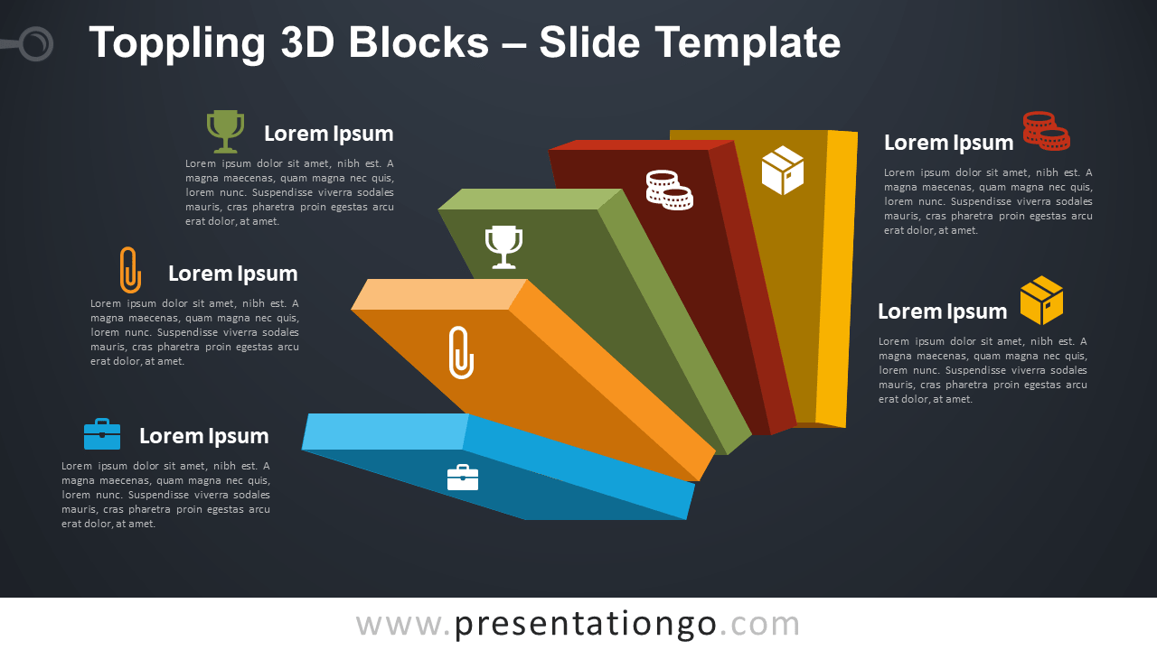 Free Toppling 3D Blocks for PowerPoint