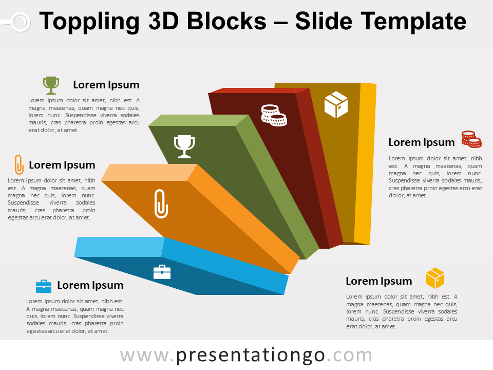 Free Toppling 3D Blocks Slide Template