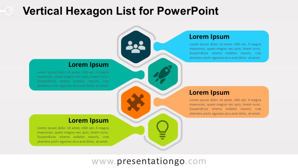 Free Vertical Hexagon List PowerPoint Slide Template