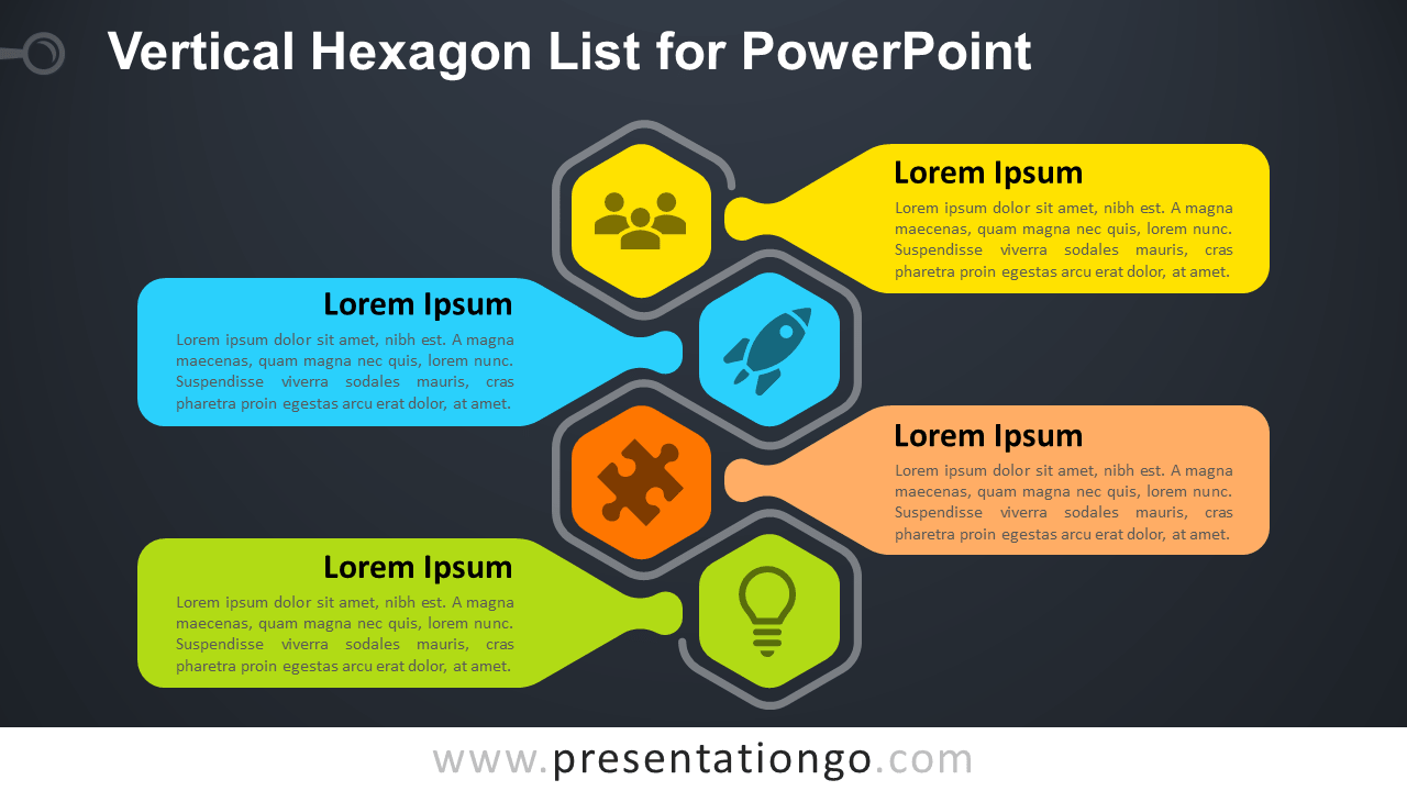 Free Vertical Hexagon List PowerPoint Slide