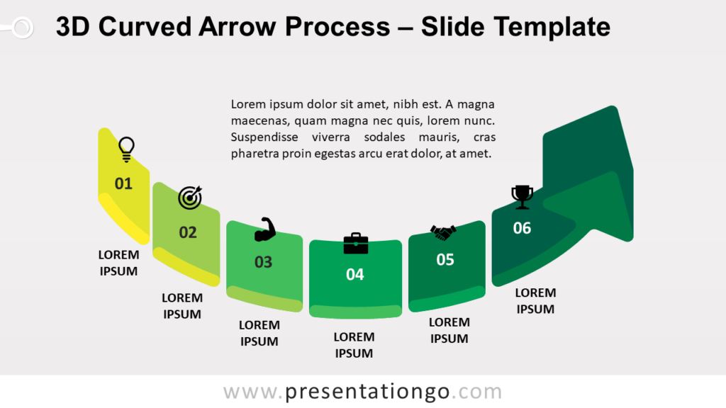 Free 3D Curved Arrow Process for PowerPoint and Google Slides