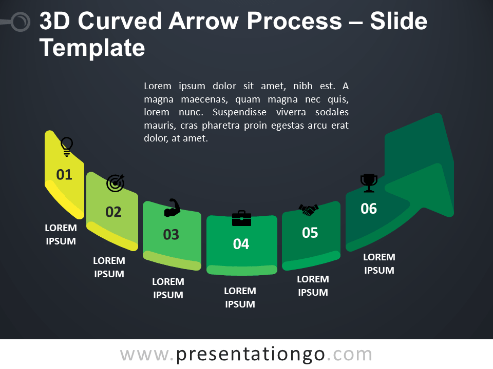 Free 3D Curved Arrow Process PowerPoint Template Slide