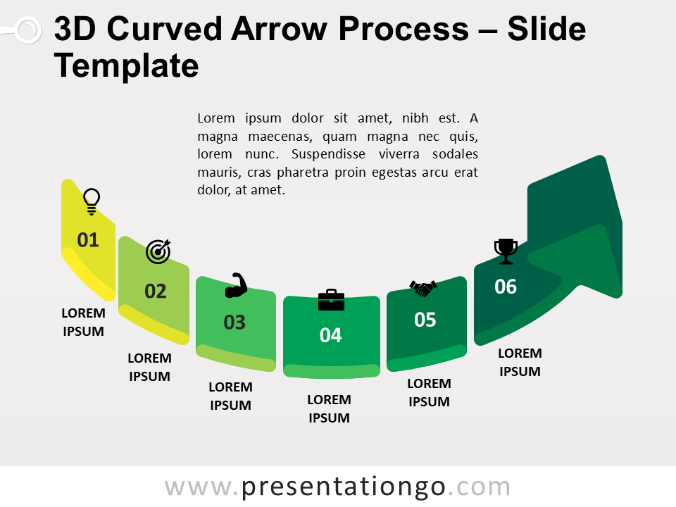 Free 3D Curved Arrow Process PowerPoint Template