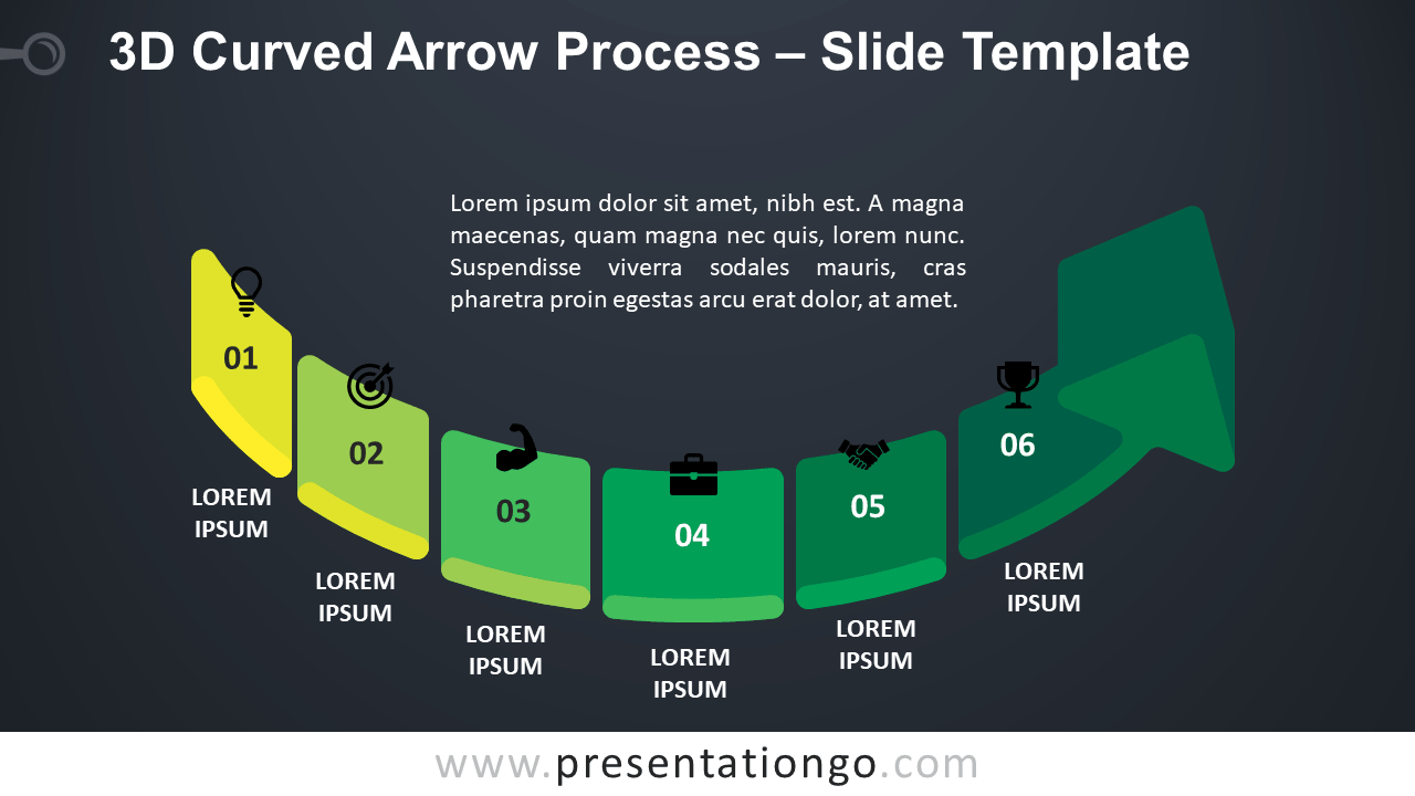 Free 3D Curved Arrow Process for PowerPoint