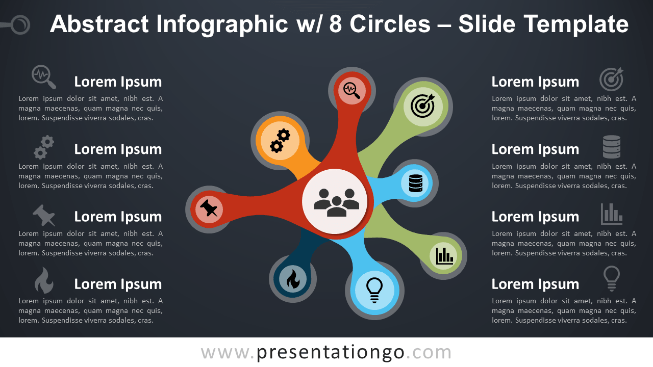 Free Abstract Infographics with 8 Circles for PowerPoint