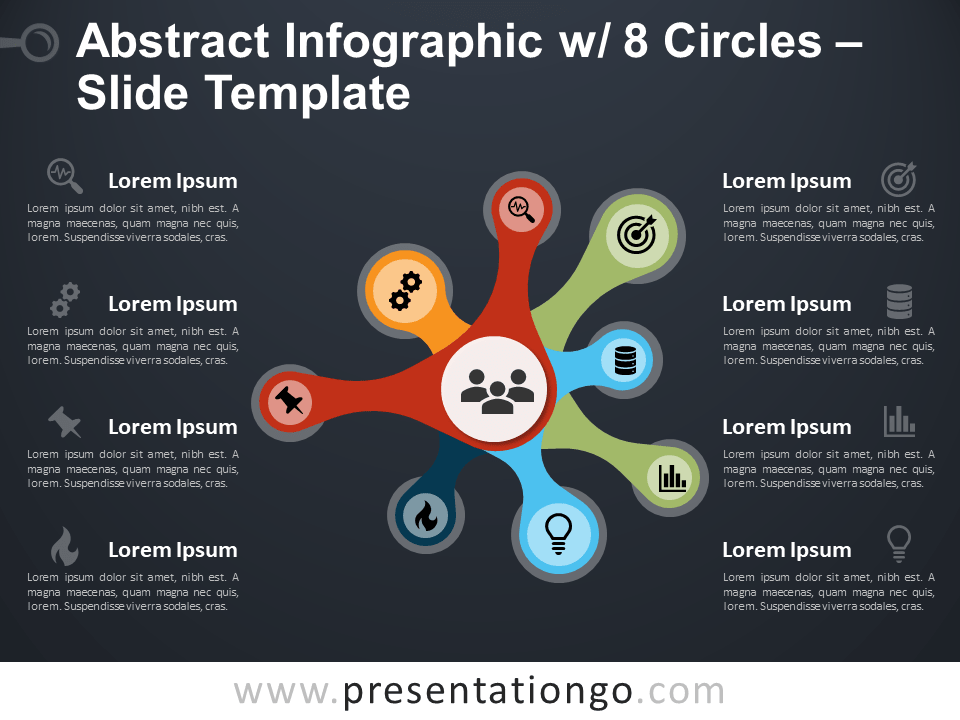 Free Abstract Infographics with 8 Circles Template