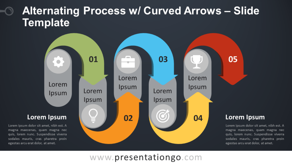 Free Alternating Process w/ Curved Arrows for PowerPoint