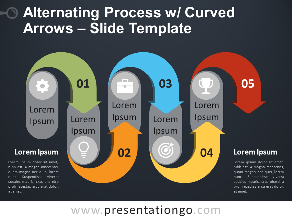 Free Alternating Process w/ Curved Arrows PowerPoint Diagram Slide