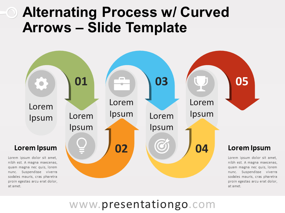 Free Alternating Process w/ Curved Arrows PowerPoint Diagram