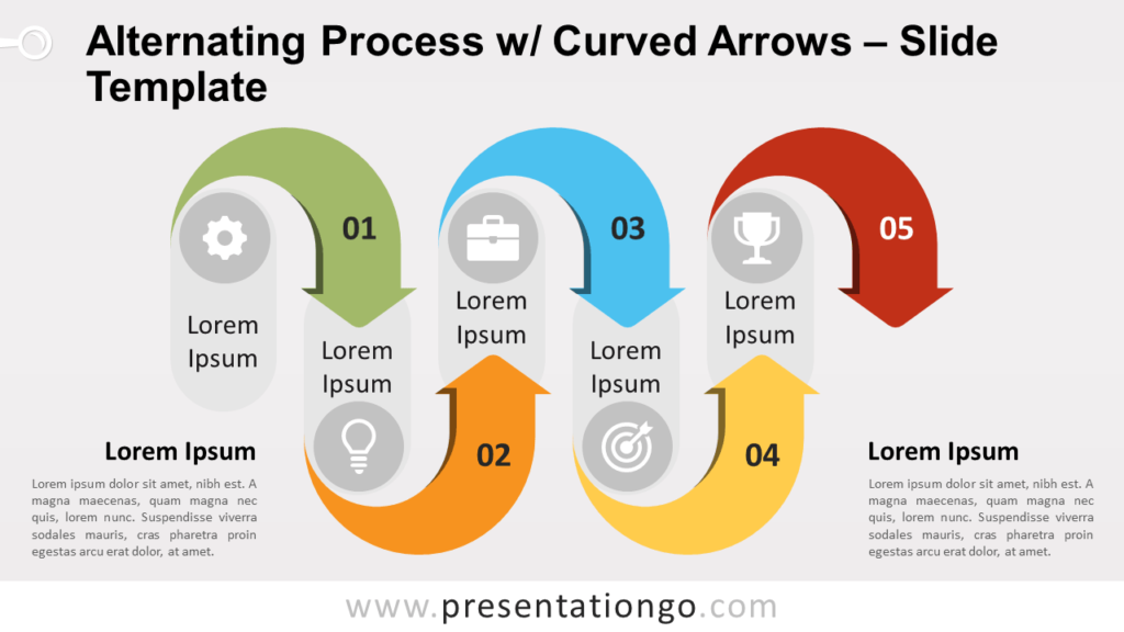 Free Alternating Process w/ Curved Arrows for PowerPoint and Google Slides