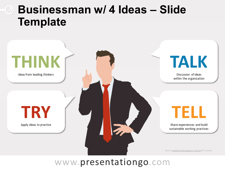 Free Businessman with 4 Ideas Slide Template
