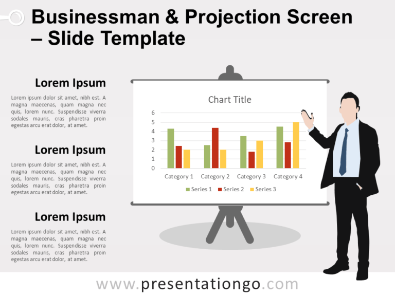 Free Businessman and Projection Screen Slide Template