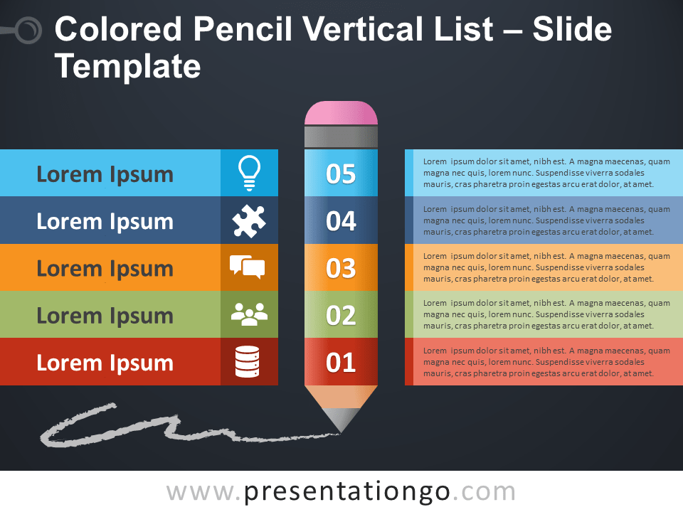 Free Colored Pencil Vertical List PowerPoint Slide Template