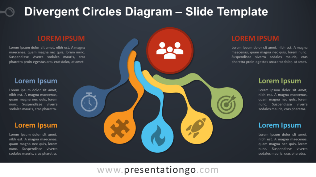 Free Divergent Circles Diagram for PowerPoint