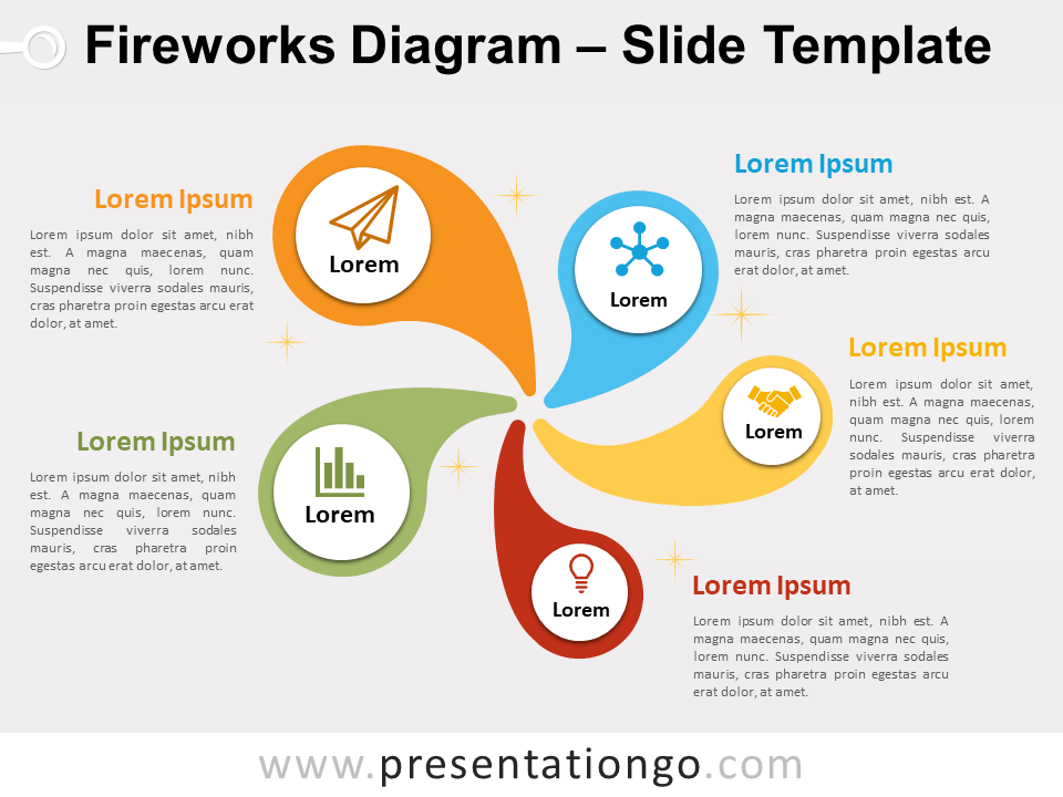 Fireworks Diagram For Powerpoint And Google Slides