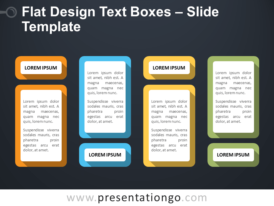 Free Flat Design Text Boxes Template Slide