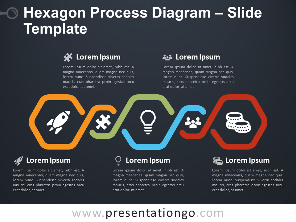 Free Hexagon Process Diagram PowerPoint Template Slide