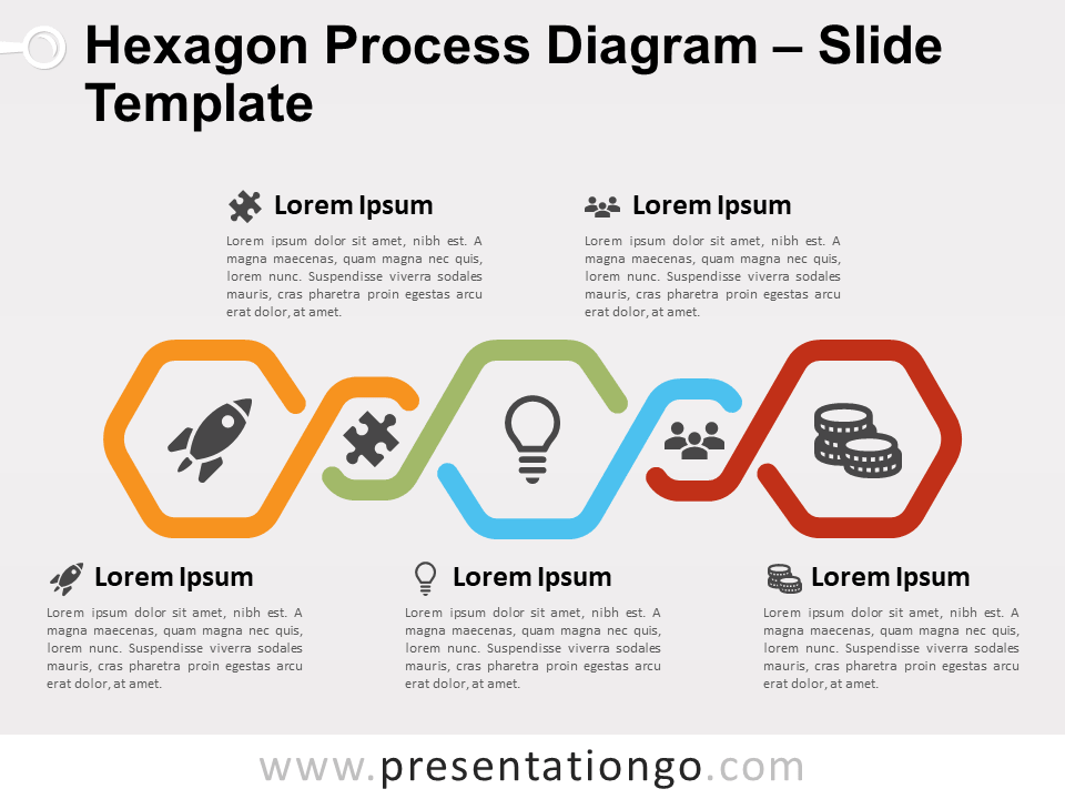 Free Hexagon Process Diagram PowerPoint Template