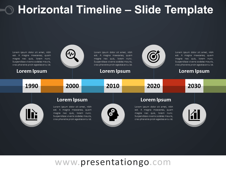 Free Horizontal Timeline PowerPoint Template Slide