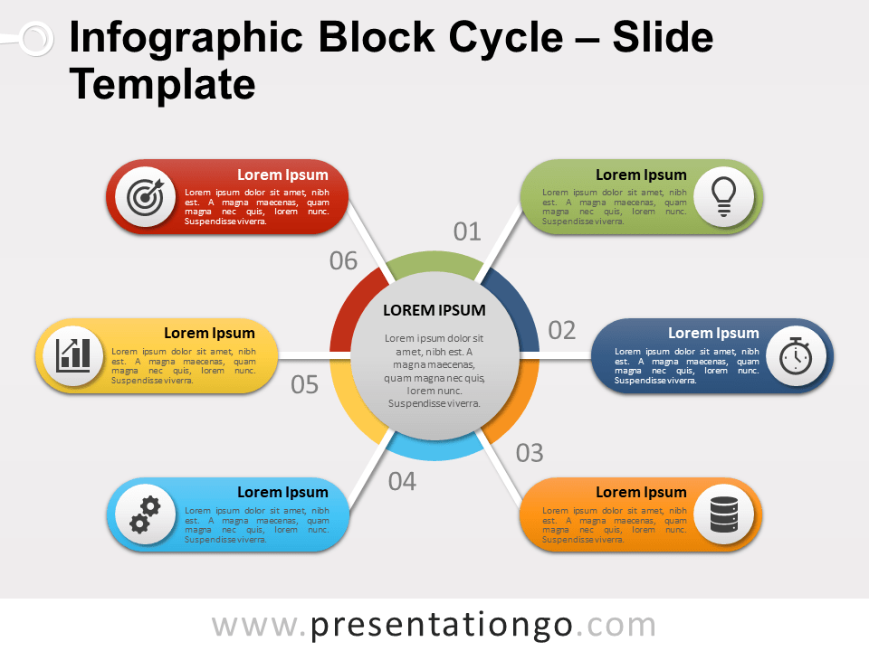 Infographic Block Cycle For Powerpoint And Google Slides