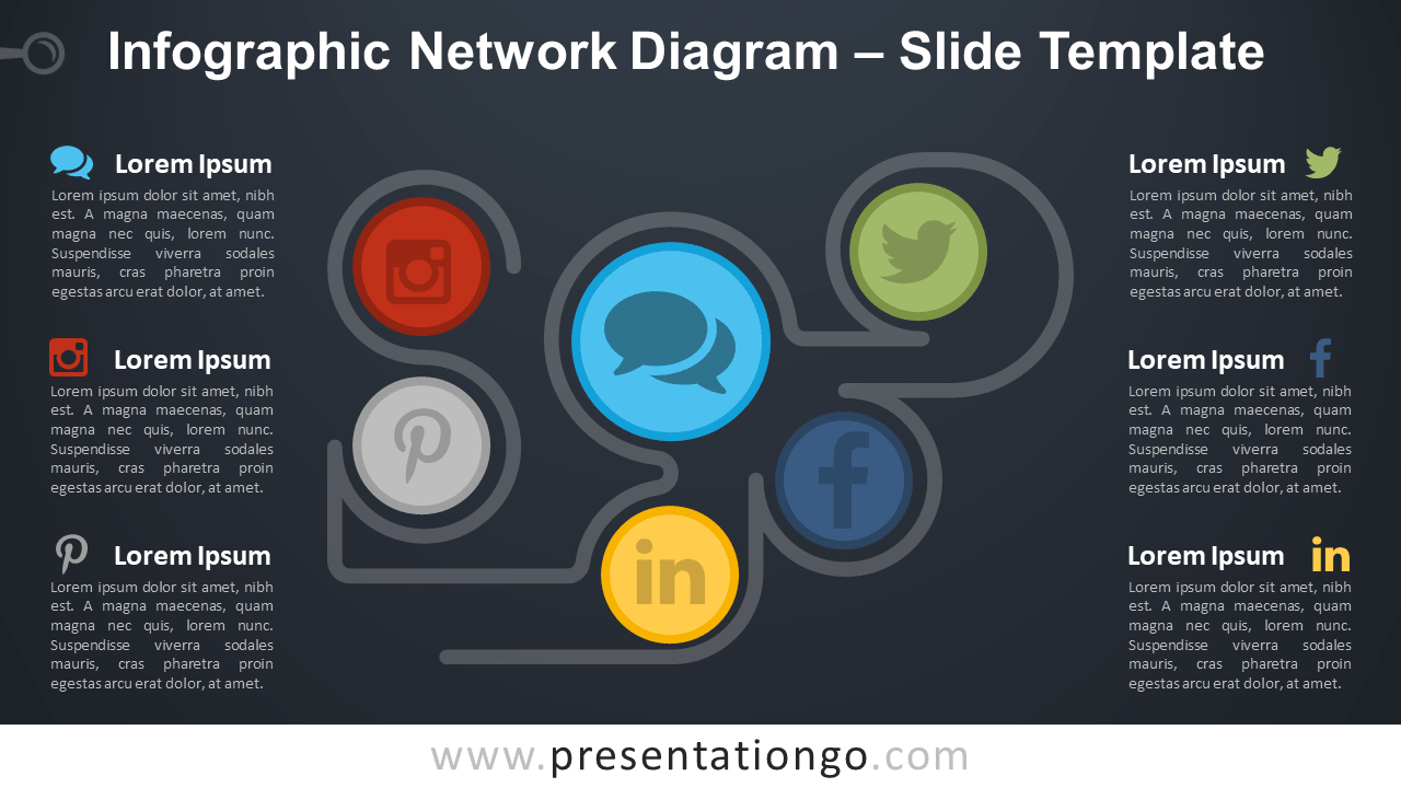 Infographic Network Diagram For Powerpoint And Google Slides