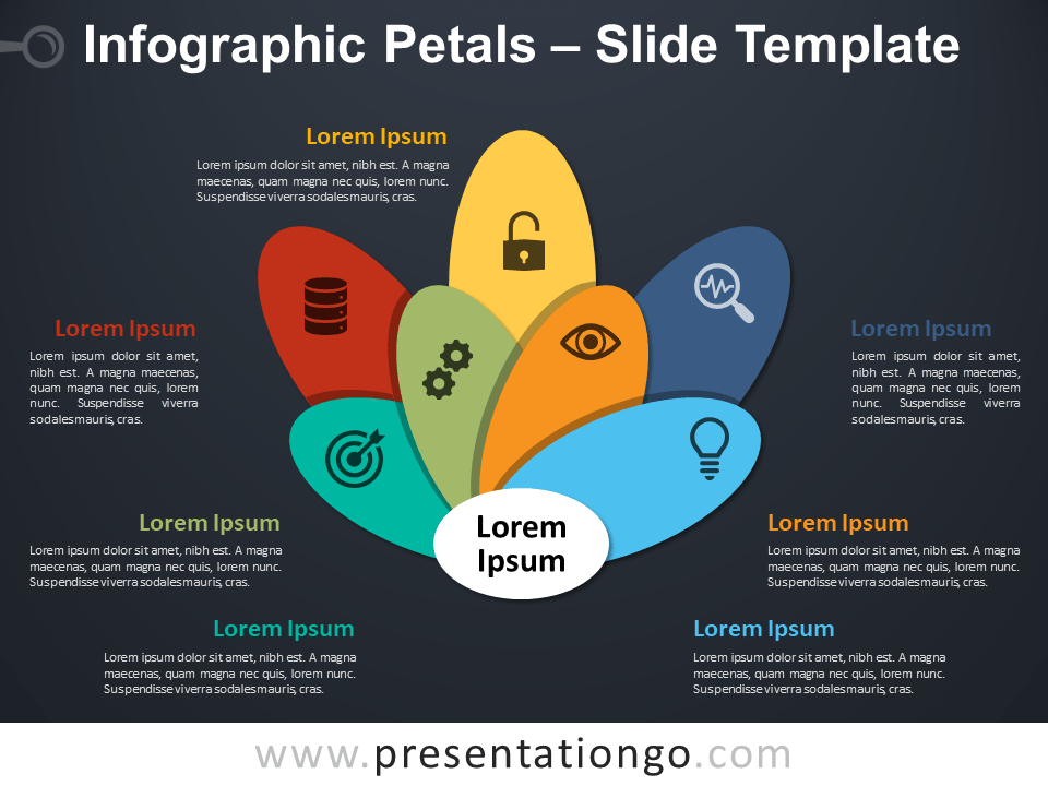 Free Infographic Petals PowerPoint Template Slide