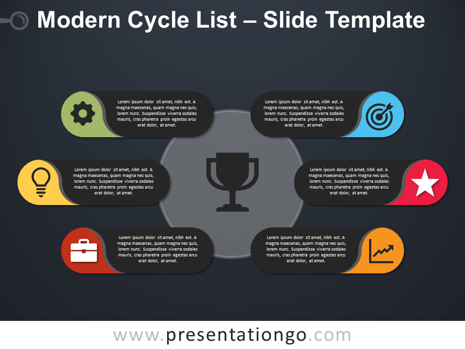 Free Modern Cycle List PowerPoint Template Slide