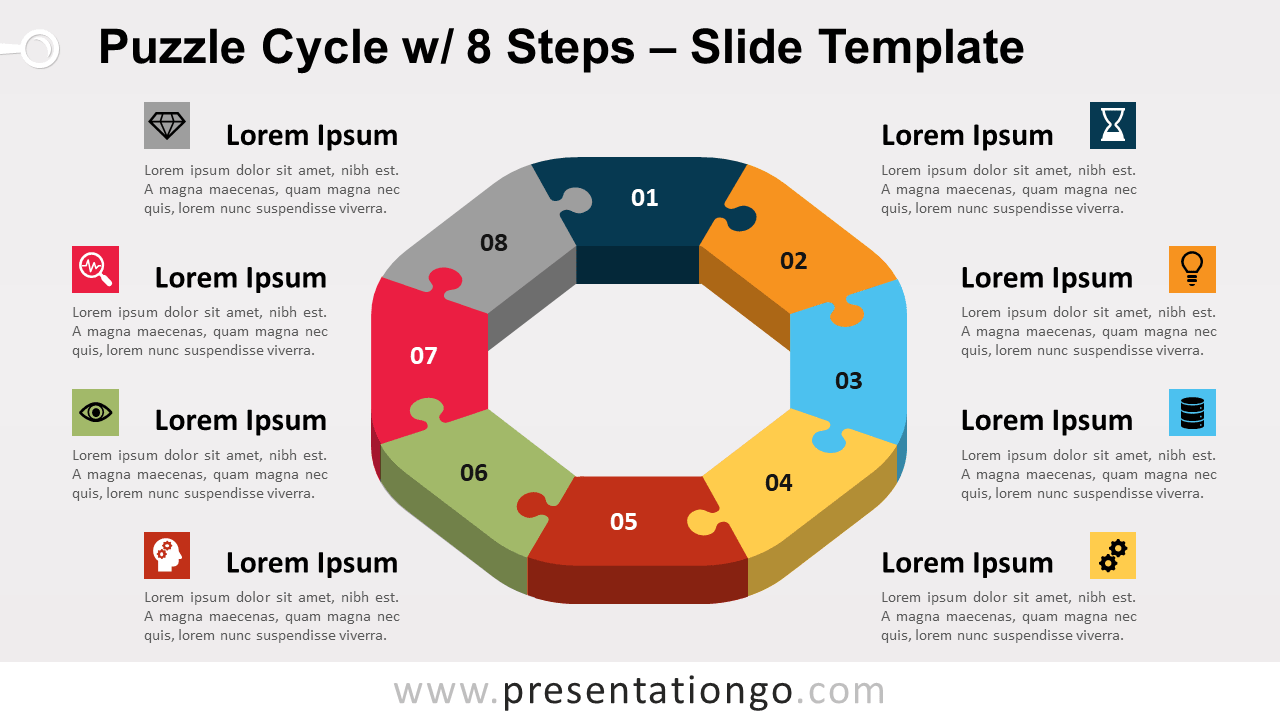 Free Puzzle Cycle with 8 Steps for PowerPoint and Google Slides