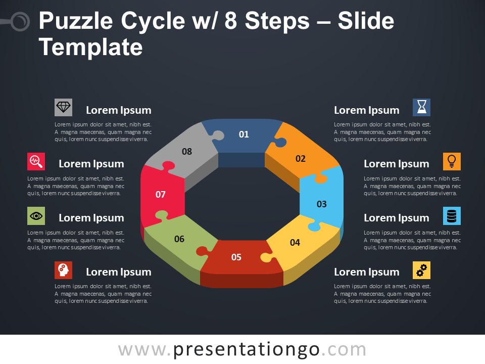 Puzzle Cycle with 8 Steps PowerPoint Template Slide